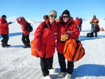 Maggie and Allie, just off the plane in Antarctica.